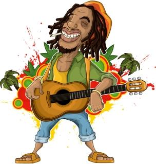 レゲエ ミュージシャン Cartoon character reggae musicians イラスト素材