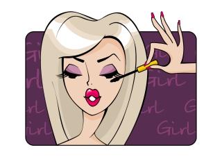 化粧する美女 fashion trends beauty makeup mascara イラスト素材