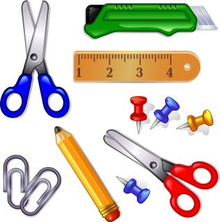 文房具 cartoon learning tools vector イラスト素材
