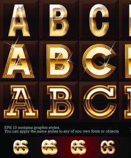 金色に輝くアルファベット Starlight bright letters vector イラスト素材