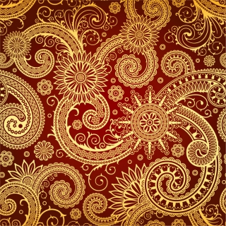 紅と金の渦巻くパターンの背景 Red Swirl Pattern イラスト素材