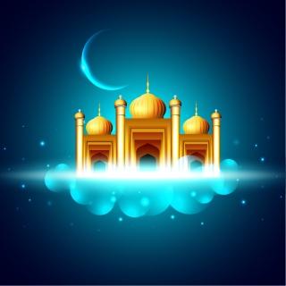 月明かりのタジマハール cartoon moonlight Taj Mahal background イラスト素材