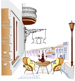 バルコニーのカフェ architecture balcony cafes seating chairs tables イラスト素材