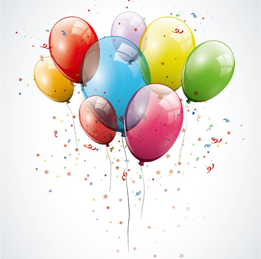 透明な色が重なる風船の背景 color balloons background イラスト素材