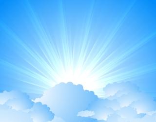 雲間から太陽光線が拡がる背景 Blue light sun rays clouds background イラスト素材