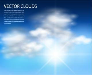 青空と雲の背景 realistic white clouds and sun on blue sky イラスト素材
