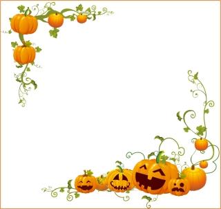 ハロウィンかぼちゃのコーナー フレーム Halloween Pumpkin Corner frame イラスト素材