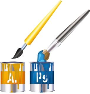 筆とペンキで表現するアドビ アイコン Adobe Icon イラスト素材