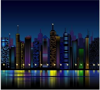 都会のビル街の夜景 Night City Vector イラスト素材