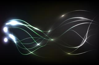 黒い背景に波打つ光のライン Glowing colourful lines on black background イラスト素材