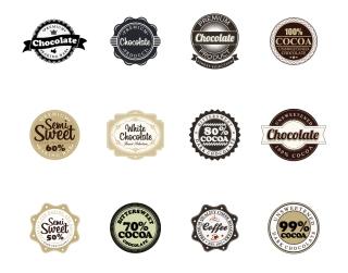 チョコレート ラベル見本 Chocolate Vector Badges イラスト素材