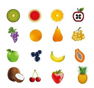 フルーツ アイコン セット Fruit icon set イラスト素材