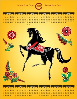 2014年午年カレンダー見本 Calendar whit horse and flower イラスト素材