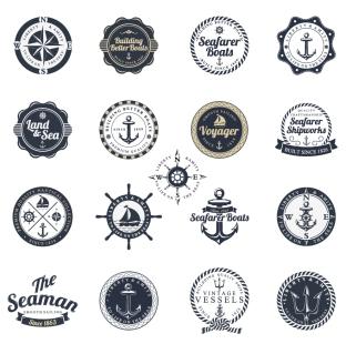 海洋関連スタンプ見本 Ocean and Sea Labels Stamp イラスト素材