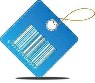 青地の白のバーコード タグ Barcode Price Tag イラスト素材