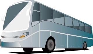 光に反射するバス車両 Vector Bus イラスト素材
