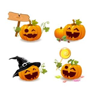 表情豊かなハロウィンのかぼちゃランタン Smile and Happy Halloween Pumpkins イラスト素材