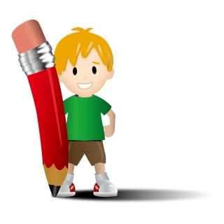 子供と鉛筆 Vector Kid with Pencil イラスト素材