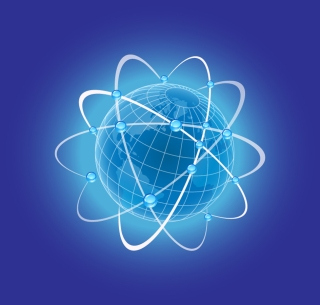 青い地球を囲む軌道 Blue globe with orbits イラスト素材