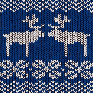 トナカイの編み物パターン blue knitted pattern with reindeers イラスト素材