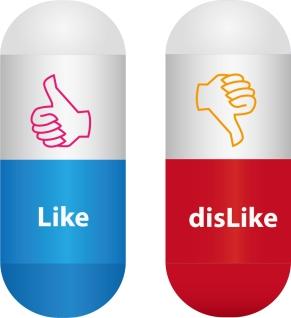 いいねマークのカプセル Like Dislike Capsule Pills イラスト素材
