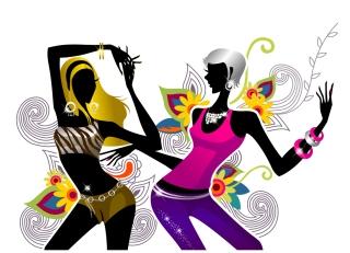 植物柄の背景で踊る少女のシルエット Two Girls Dancing on Floral Background イラスト素材