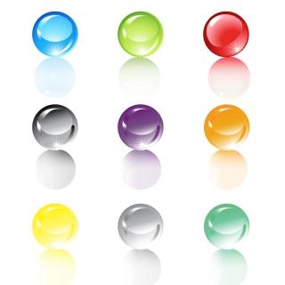 色違いの半透明の水晶球 Set of translucent crystal ball イラスト素材