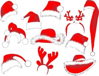 サンタクロースの帽子とトナカイのツノ型見本 christmas hats vector イラスト素材