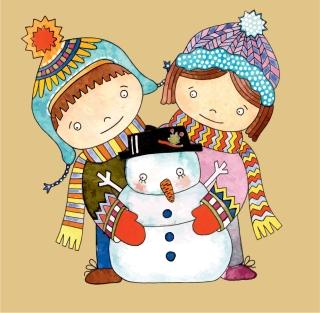 クリスマスの子供と雪だるま Christmas cartoon snowman illustration イラスト素材