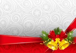 クリスマスベルとリボンの飾り罫 exquisite christmas bells background イラスト素材