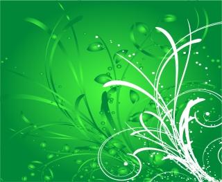 抽象的な緑の植物柄背景 Abstract Green Floral Background Vector Illustration イラスト素材