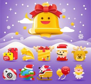 クリスマス飾りの可愛いアイコン christmas holiday icon イラスト素材