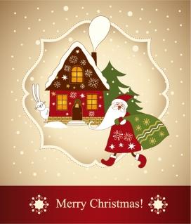 プレゼントを届けるサンタクロースのクリスマスカード beautiful christmas greeting card イラスト素材