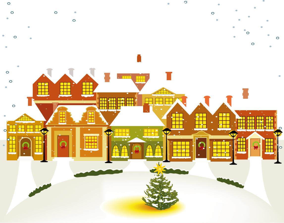 雪降る聖夜の街並み The Cartoon Christmas House Background イラスト