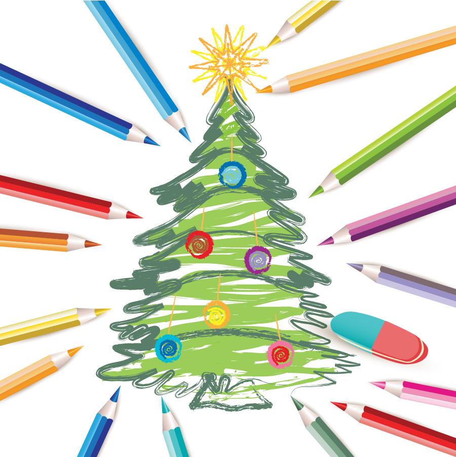 手書きのクリスマスツリー Decorated Christmas Tree イラスト