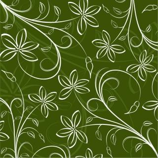 緑の背景に白い花びらの線画 Floral Pattern Background Vector Graphic Art イラスト素材