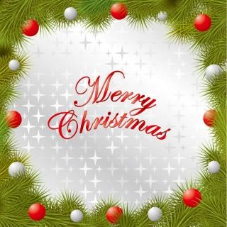 クリスマス樅の木のフレーム Christmas pine branches borders ornaments イラスト素材