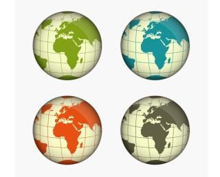 色違いの地球儀 Green, Blue, Yellow and Gray Globe Vector Illustration イラスト素材