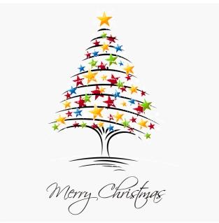 星で型どるクリスマスツリー Christmas Tree Vector Illustration イラスト素材