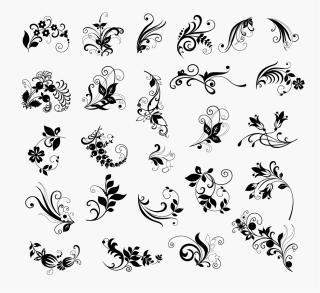 植物柄のシルエット アイコン Floral Elements for Design イラスト素材