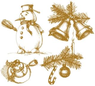 手描きスケッチ風の雪だるまとクリスマス飾り exquisite christmas bells background イラスト素材