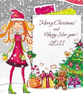 少女とクリスマス飾りのテキストフレーム  christmas cartoon girl image vector イラスト素材