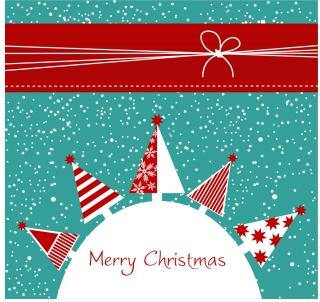 クリスマスツリーの表紙見本 ribbons Christmas tree background イラスト素材