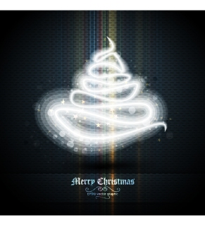 波打つ光で表現したクリスマス ツリー beautifully halo christmas tree イラスト素材