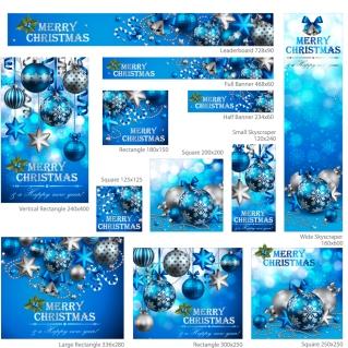 クリスマスボールのバナー各種 exquisite christmas promotional イラスト素材