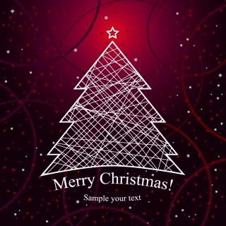 光るラインで描いたクリスマスツリーの背景 Christmas trees scenic halo lines イラスト素材