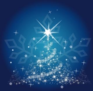 雪の結晶の背景と光のクリスマスツリー Christmas tree blues イラスト素材