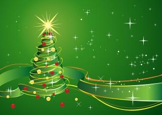 緑のリボンで描くクリスマスツリーの背景 Christmas Background with star and green ribbon イラスト素材