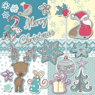 切り絵風のクリスマス飾り christmas decoration stickers イラスト素材