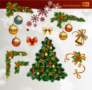 美しいクリスマス飾りのエレメント christmas decorative elements イラスト素材